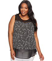 Vince Camuto Specialty Size - Plus Size Sleeveless Modern Mosaic Chiffon Mix Media Top