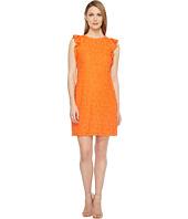 London Times - Daisy Tile Lace Ruffle Sleeve Shift Dress