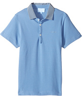 Lanvin Kids - Short Sleeve Polo Shirt w/ Contrast Collar & Logo Detail (Little Kids/Big Kids)
