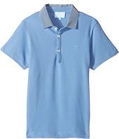 Lanvin Kids - Short Sleeve Polo Shirt w/ Contrast Collar & Logo Detail (Little Kids/Big Kids)