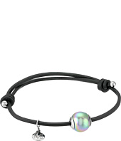 Majorica - Adjustable Black Leather White Pearl Bracelet