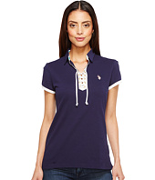 U.S. POLO ASSN. - Lace-Up Pique Polo Shirt