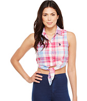 U.S. POLO ASSN. - Plaid Poplin Sleeveless Cropped Blouse