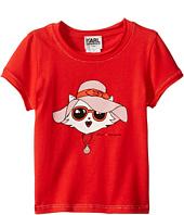 Karl Lagerfeld Kids - Short Sleeve Tee w/ Choupette Print & Gold Lurex Stitch (Toddler)
