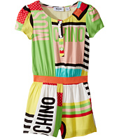 Moschino Kids - Short Sleeve All Over Print Logo Romper (Little Kids/Big Kids)
