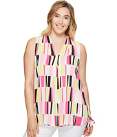 Vince Camuto Specialty Size - Plus Size Sleeveless Charming Graphic Invert Pleat Blouse