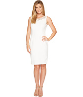 Ivanka Trump - Scuba Crepe Sheath Hardware Detail Crew Neck