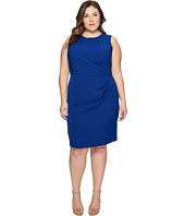 Adrianna Papell - Plus Size Stretch Crepe Tucked Waist Detail Sheath Dress
