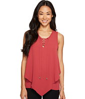 Vince Camuto Specialty Size - Petite Sleeveless Handkerchief Lace-Up Texture Blouse