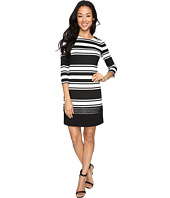 Vince Camuto - Stripe Knit 3/4 Sleeve Shift Dress w/ Lace Trim