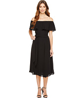 Ivanka Trump - Georgette Off the Shoulder Ruffle Belted Tie Waist Midi Dress
