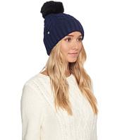UGG - Textured Cuff Hat with Fur Pom