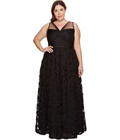 Adrianna Papell - Plus Size Sleeveless Long Tule Rosette Ball Gown