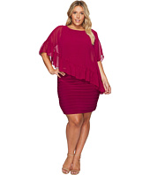 Adrianna Papell - Plus Size Banded Sheath with Ruffle Cape