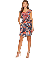 Adrianna Papell - Petite Printed Linenette Mirrored Dreams Fit and Flare with Embroidery