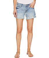 Stetson - Denim Shorts with Floral Embroidery On Hem