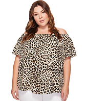 Vince Camuto Specialty Size - Plus Size Short Sleeve Leopard Song Off Shoulder Blouse
