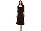 Three-Quarter Sleeve Reversible Scoop Neck Flaired Dress