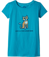 Life is Good Kids - Four Legged Word Cat Crusher Tee (Little Kids/Big Kids)
