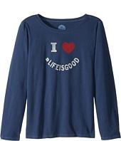 Life is Good Kids - I Heart LIG Long Sleeve Crusher Tee (Little Kids/Big Kids)