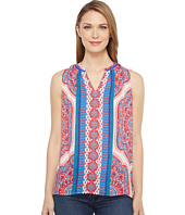 Tribal - Printed Sleeveless Blouse w/ Beads At Neck