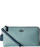 COACH - Color Block Double Zip Wallet