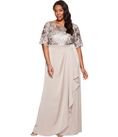 Adrianna Papell - Plus Size Sequin Embroiderd Draped Gown with Elbow Sleeve