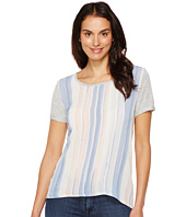 TWO by Vince Camuto - Short Sleeve Paintwash Stripe Mixed Media Tee
