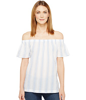 TWO by Vince Camuto - Off the Shoulder Stripe Seersucker Side Slit Tunic