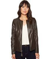 Via Spiga - Zip Collarless Jacket with Knit Trim