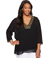 MICHAEL Michael Kors - Plus Size Top/Embroidered Neckline Top