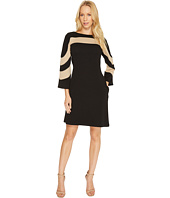 Christin Michaels - Erin Bell Sleeve A-Line Crepe Dress