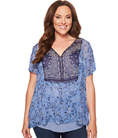 Lucky Brand - Plus Size Scarf Print Top