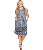 Lucky Brand - Plus Size Blue Batik Dress