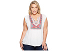 Plus Size Embroidered Bib Tank Top