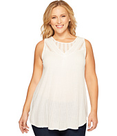 Lucky Brand - Plus Size Mixed Lace Yoke Tank Top