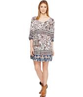 Roper - 1130 Blue/Grey Border Print Rayon Dress