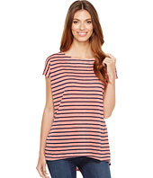 Allen Allen - Stripe Cap Sleeve High-Low Crew