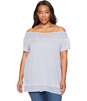Allen Allen - Plus Size Short Sleeve Off the Shoulder Crew
