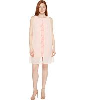 Sangria - Sleeveless Chiffon Dress with Lace Underlay