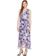 Sangria - Printed Chiffon Wrap Maxi Dress