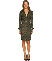 Just Cavalli - Viscose Metallic Long Sleeve Twist Front Dress