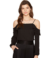 1.STATE - Cold Shoulder Blouse w/ Ruffle Top