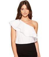 1.STATE - One Shoulder Double Layer Ruffle Blouse