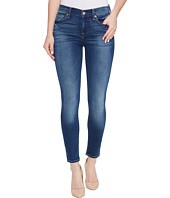7 For All Mankind - Cropped Skinny Jeans w/ Squiggle in Rich Coastal Blue