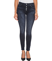 7 For All Mankind - The High Waist Ankle Jeans w/ Exposed Button Fly in Authentic Black
