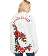 Brigitte Bailey - Zoe Rose Patch Distressed Denim Jacket