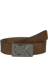 Calvin Klein - 38mm Belt w/ CK Logo Plaque Buckle