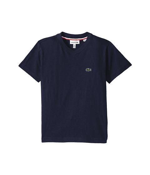 Lacoste Kids Short Sleeve Solid V-Neck T-Shirt (Toddler/Little Kids/Big Kids)