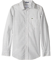 Lacoste Kids - Long Sleeve Poplin Check Shirt (Little Kids/Big Kids)